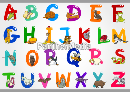karikatur alphabet mit tier illustrationen