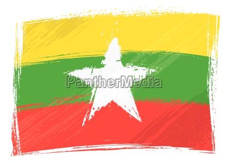 grunge myanmar flagge