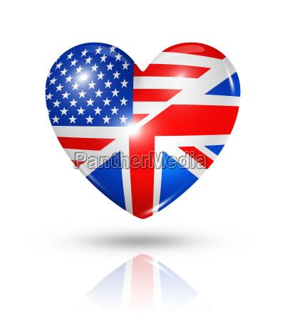 love usa und grossbritannien herzflaggent symbol