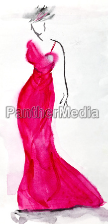 langen rosa abendkleid von 30 jahren