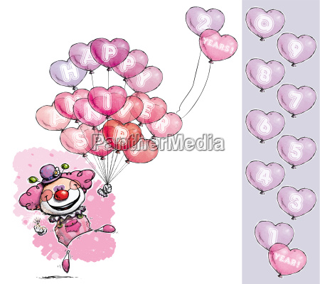 clown with heart balloons saying happy