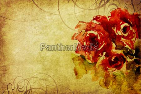 roses watercolor card