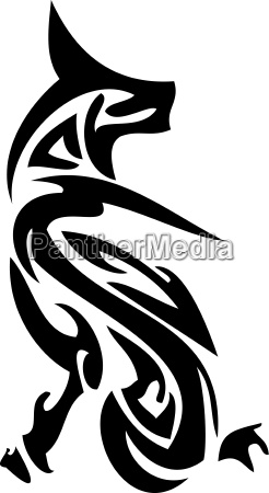 cat abstract tattoo vector