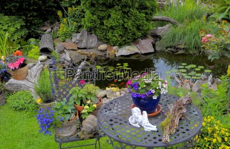 garden table and garden chairs