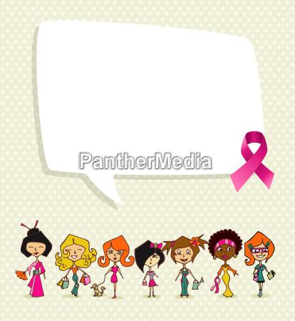 breast cancer awareness ribbon social bubble