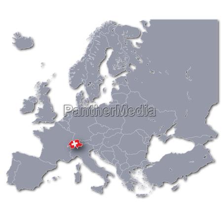 europakarte mit der schweiz