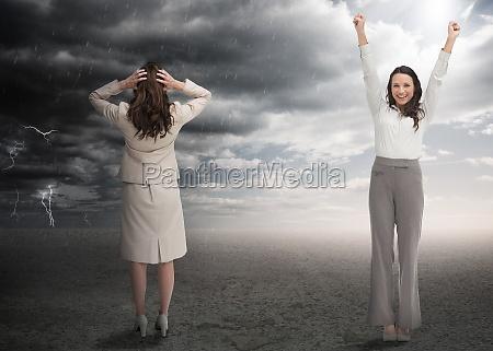 erfolgreiche und betonte geschaeftsfrauen