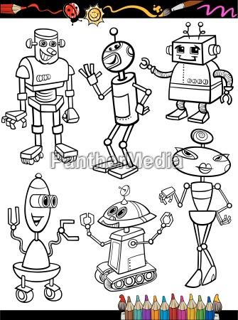 roboter cartoon set fuer malbuch