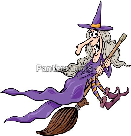 czarownica na ilustracja kreskowki miotla