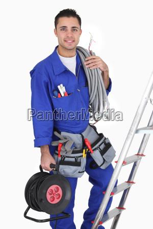 tradesman with his tools