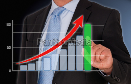businessman with performance chart