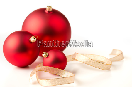 red christmas baubles gold ribbons