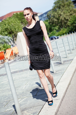 young attractive slim woman with black