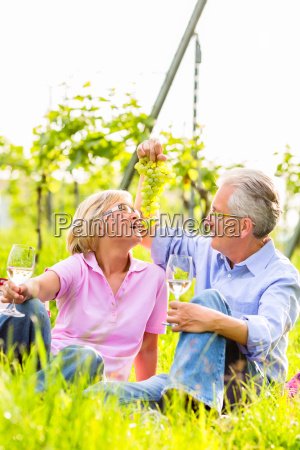 happy seniors sitting in vineyard