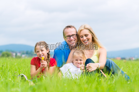 happy family on summer meadow makes