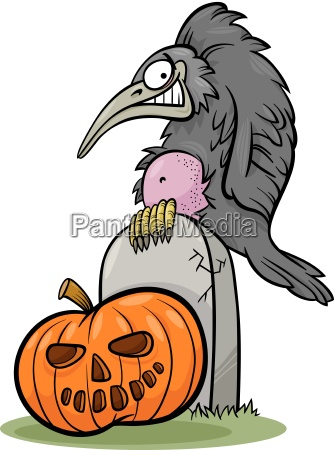 halloween kuerbis mit kraehe cartoon
