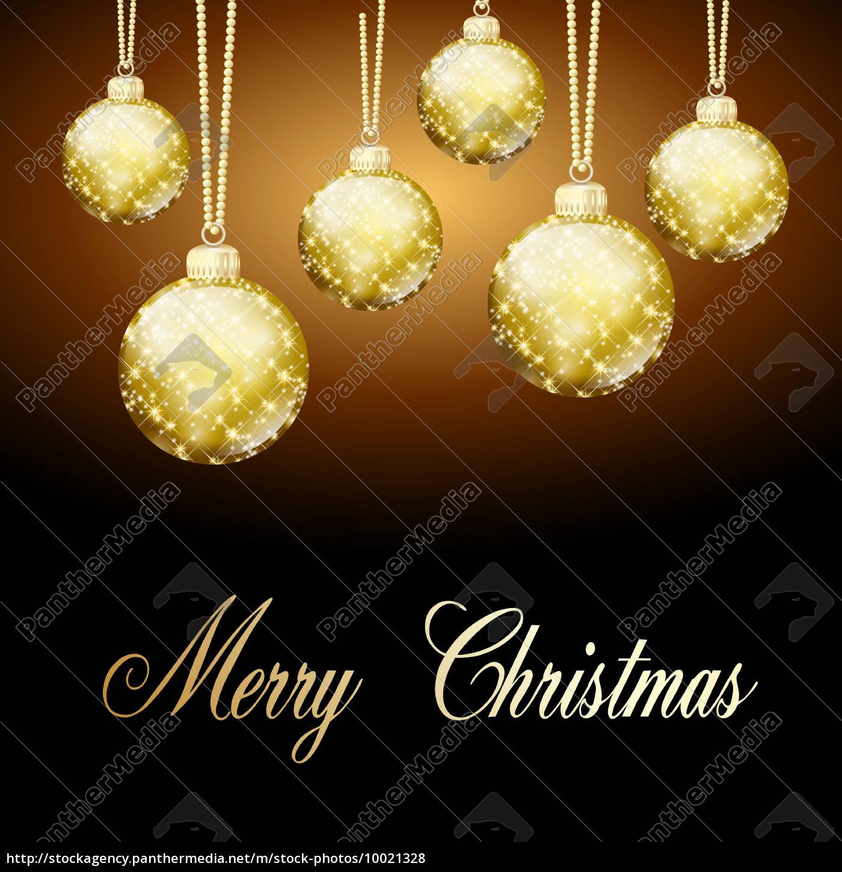 Goldene Weihnachtskugeln.Lizenzfreies Foto 10021328 Goldene Weihnachtskugeln Hintergrund