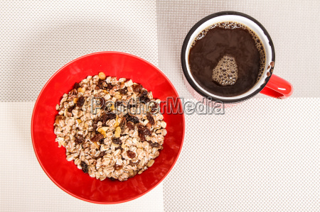 cup of coffee with muesli