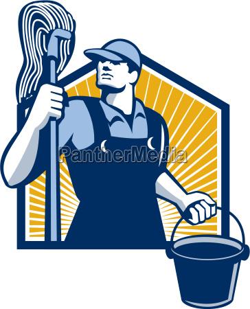hausmeister reiniger holding mop bucket retro