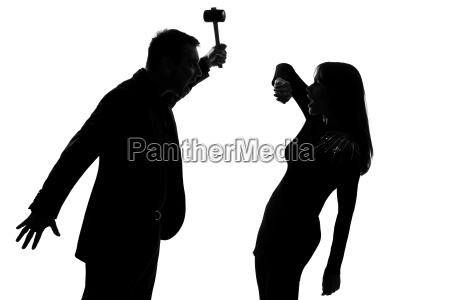 one couple man holding hammer and