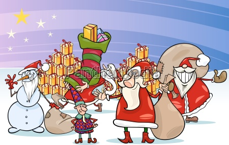 weihnachten weihnachtsmann cartoon gruppe