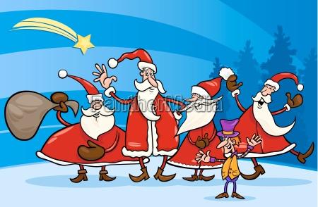 weihnachtsmann gruppe karikaturillustration