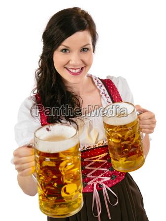 herrliche oktoberfest kellnerin mit bier