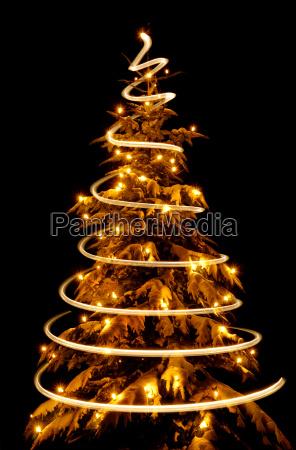 christmas tree with light spiral