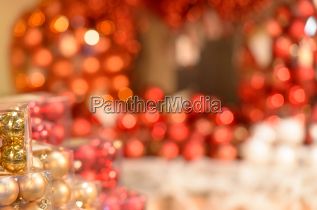 red christmas decorations glittering background