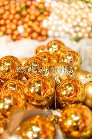 glittering golden christmas balls decoration