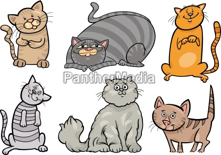 cute cats set cartoon illustration