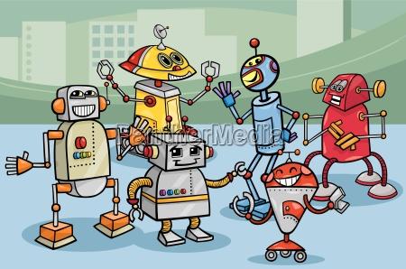 roboter gruppe cartoon abbildung