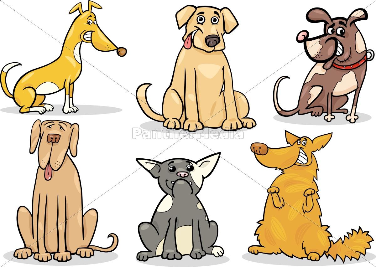 cute, dogs, set, cartoon-abbildung - 10085836