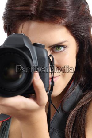 frau foto fotocamera fotoapparat kamera knipskiste