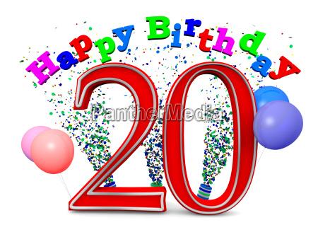eine 20 mit happy birthday und