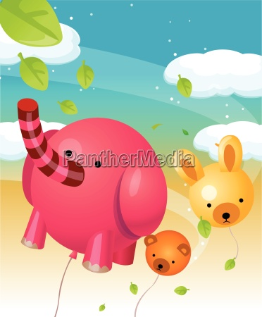 animal shape balloons in air