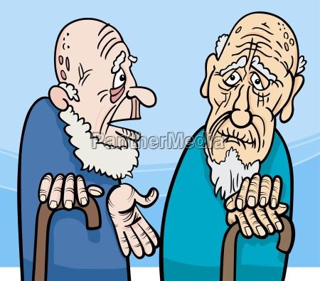 karikaturillustration der alten maenner