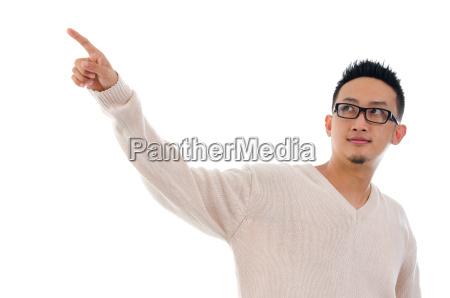 asian man finger touching on transparent