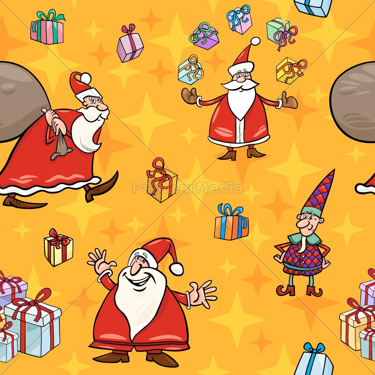 weihnachts-karikatur, nahtlose, muster, wrapper - 10159659
