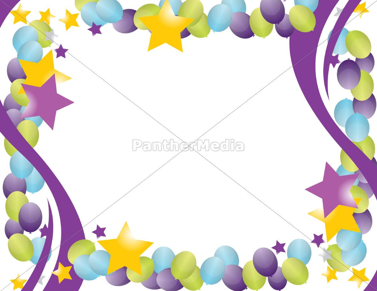 feier ballon rahmen mit sternen isoliert über einem - Lizenzfreies ...
