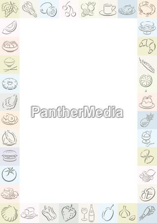farbiger rand mit food symbolen