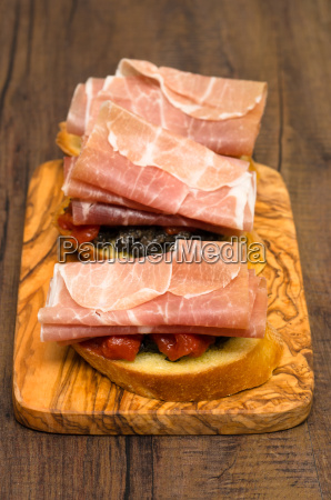 snack of bread with olive paste
