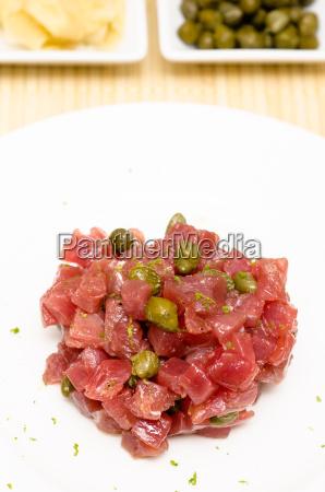 tatar of tuna raw in portrait