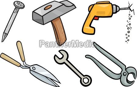 tools objects cartoon illustration set