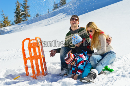 familie, die, spaß, auf, frischem, schnee, am - 10196675