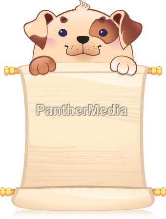 hund mit scroll