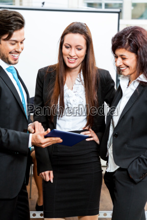 group team with boss and associates