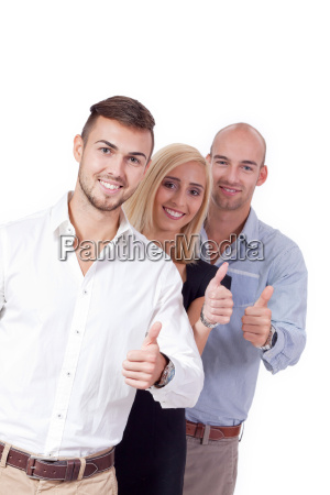 young successful business people laughing thumbs