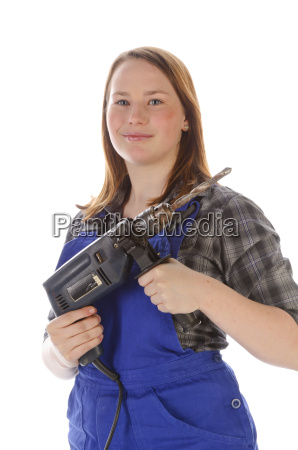 young woman girl with drill