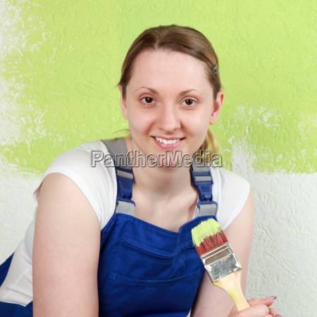 happy woman with brush